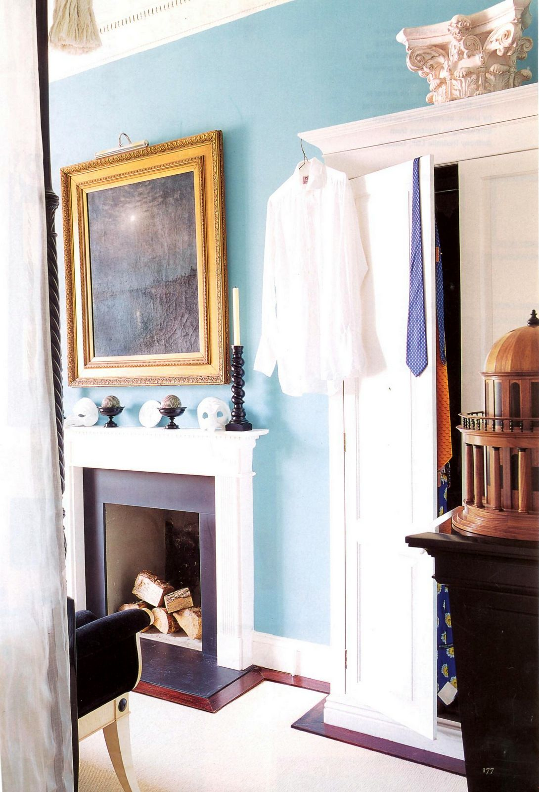 Traditional style bedroom with Aqua Blue walls