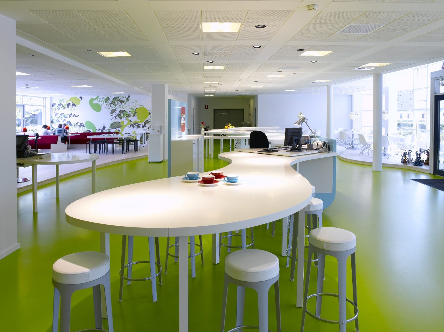 awesome office designs. Interior, Breathtaking Office Design With Unique White Desk And Cool Stools Also Beautiful Ceiling Using Green Floor: Awesome Designs S