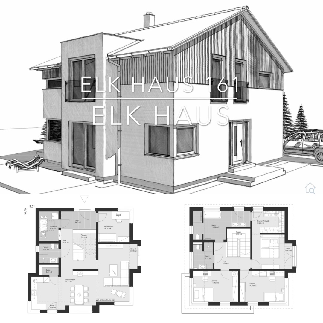 Fertighaus modern Einfamilienhaus mit Holz Putz Fassade & Satteldach, Haus Ideen mit Grundriss