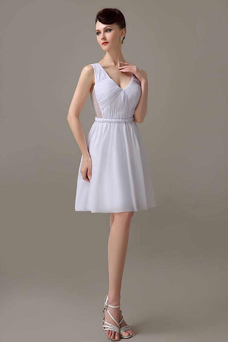 Click to buy white knee length chiffon low back zipper up v cheap cheap bridesmaid dresses buy quality bridesmaid dresses cheap directly from china custom bridesmaid dress suppliers white knee length chiffon low ombrellifo Choice Image