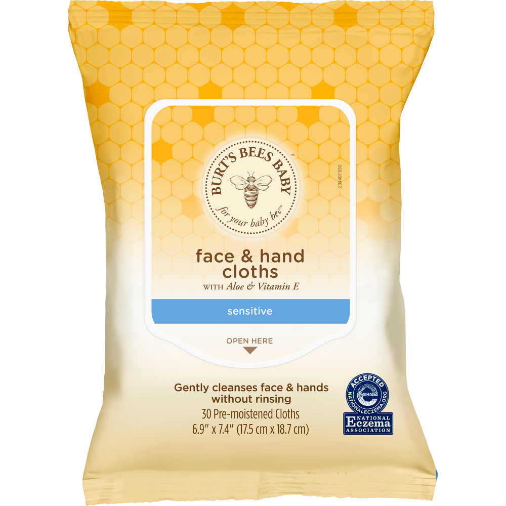 Burt's Bees Baby Face & Hand Cloths, Unscented Cleansing
