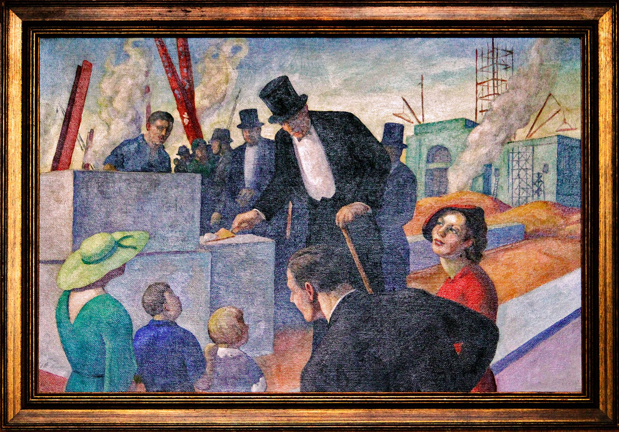 """Dedicated to Labor,"" 1936. Artist unknown.  This painting was produced as part of President Franklin Roosevelt's New Deal Art program, and now hangs in GSA headquarters in Washington, DC."