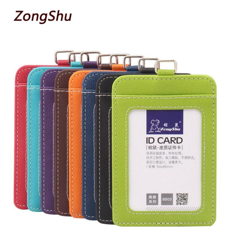 2018 New Fashion Id Holders Bank Credit Card Holder Uni Pu Leather Case Business Working Badge Covers Without Lanyard