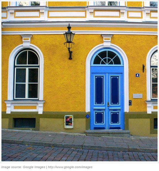 Blue Doors Mustard Yellow House House Exterior Color Schemes Blue Door Exterior House Color