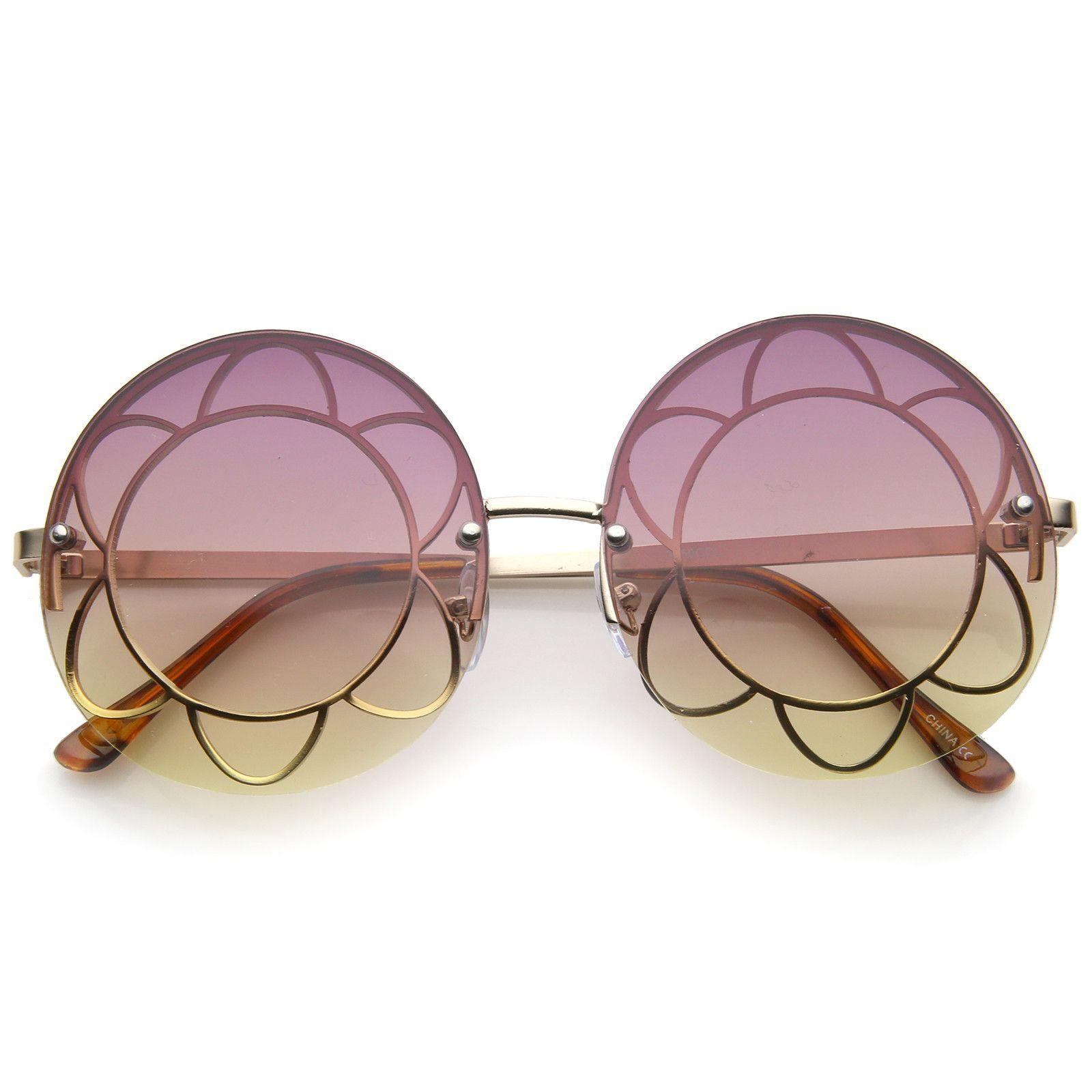 f6cd74a671d Women s Rimless Floral Frame Gradient Color Lens Oversize Round Sunglasses  59mm