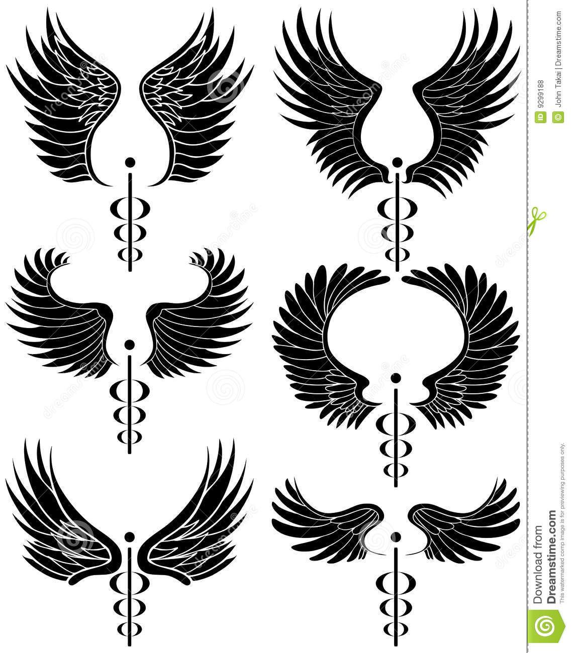The caduceus coil google search meta pinterest tattoo caduceus medical symbol set of 6 black and white buycottarizona Image collections