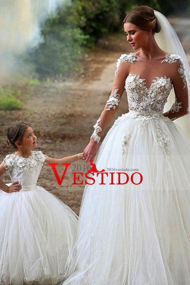 2016 vestidos de boda completa mangas de la cucharada de tul con apliques