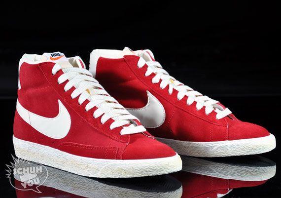 Nike Blazer Haute En Daim Rouge Vntg