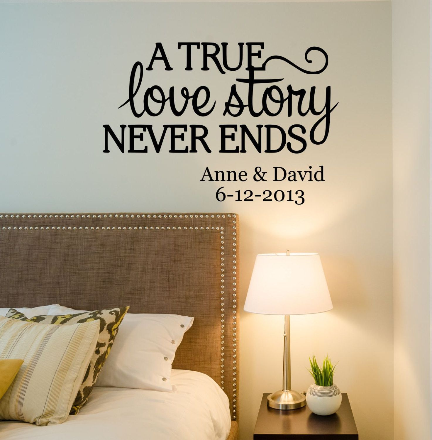 A true love story never ends personalized custom name established a true love story never ends personalized custom name established date quote vinyl wall decal sticker amipublicfo Image collections