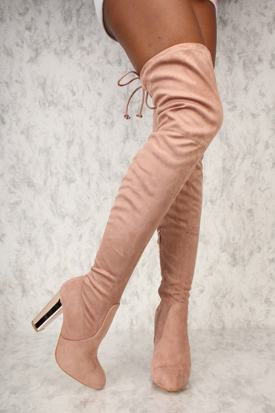 eaf531d0f Sexy Nude Metallic Chunky Heel Thigh High Boots Faux Suede