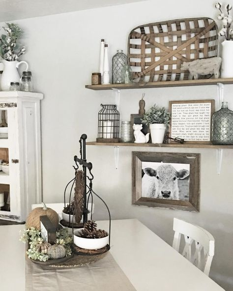 Farmhouse Dining With Floating Shelves Room Wall DecorKitchen