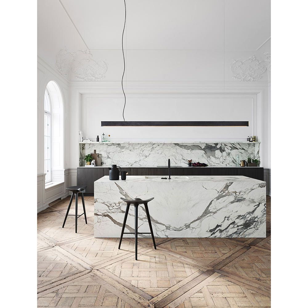 Floating Kitchen Island Designs: Black Dyed Pine, Brushed Brass In 2019