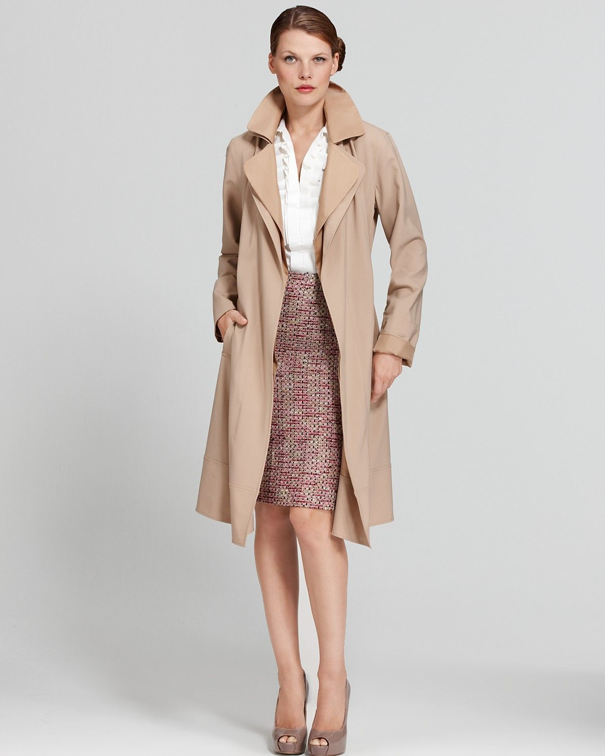 Trench Coat & Boucle Pencil Skirt