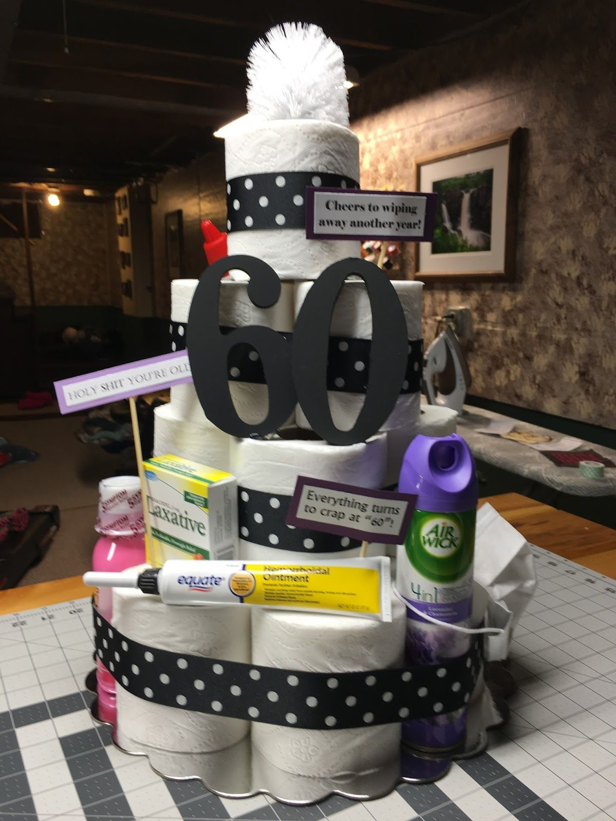 Toilet Paper CAKE! 60th birthday party decorations, 60th