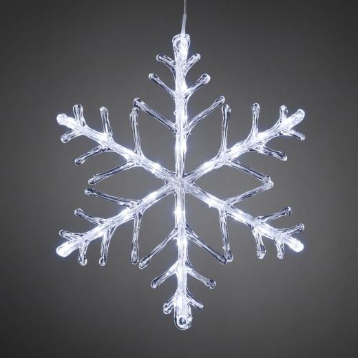 snowflake outdoor christmas light 40cm white led battery operated
