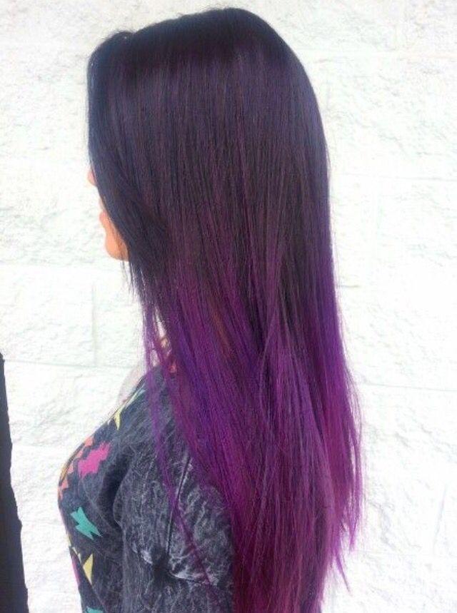 hair - color ombr long brunette