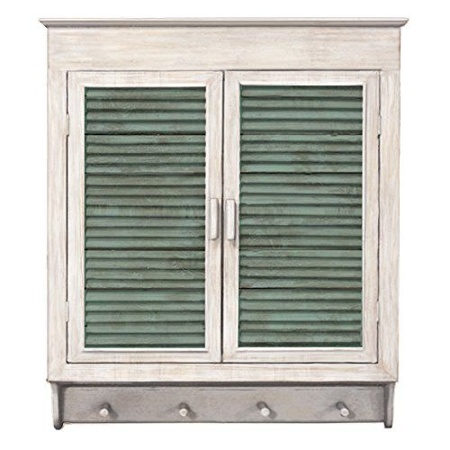 Wall Cabinet Shelves Louvered Doors Distressed Washed Fin