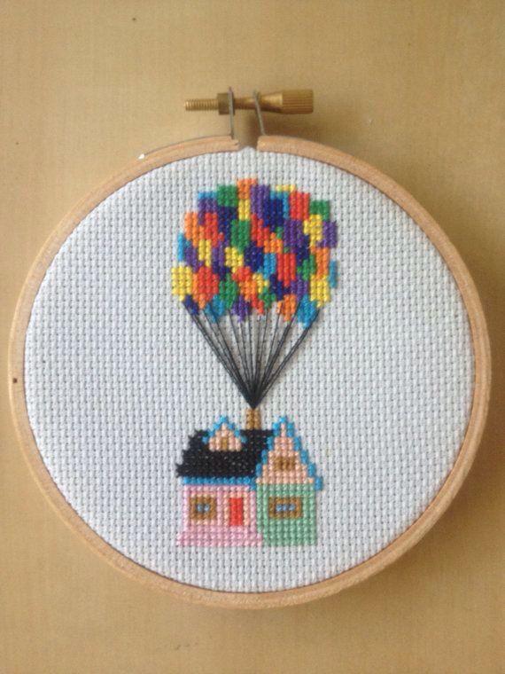 casa up en punto de cruz | Tarjetas de bebé | Pinterest | Punto de ...