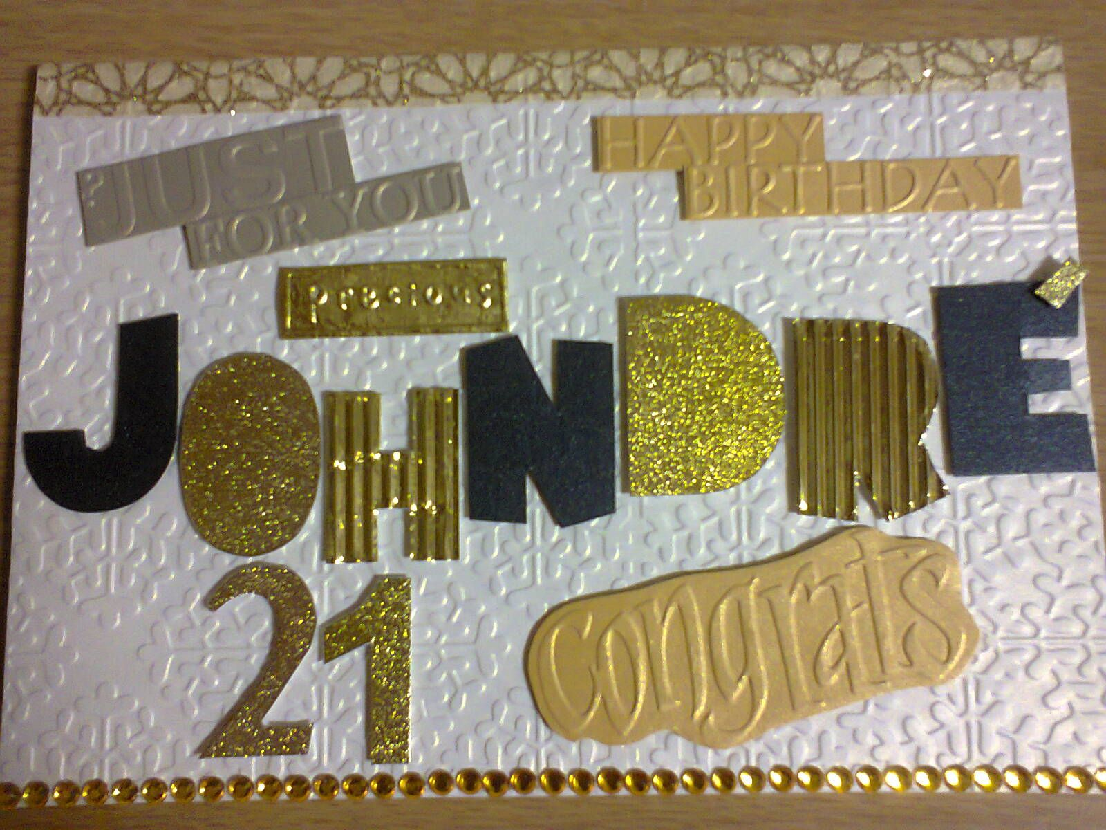Personalized Black And Gold 21st Birthday Card Handmade