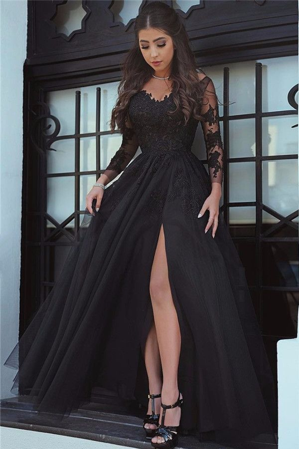 Prom Dresses 2018 2017 Black With Long Sleeves Lace Appliques Sexy Side Slit Party Gowns Women Ball Gown Dress
