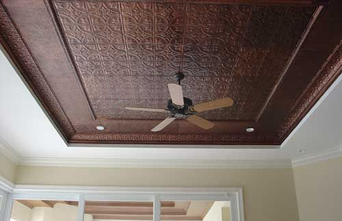 Pin By Leslie Inglis On Bungalow Tiny House Love Tin Ceiling Copper Living Room Copper Ceiling