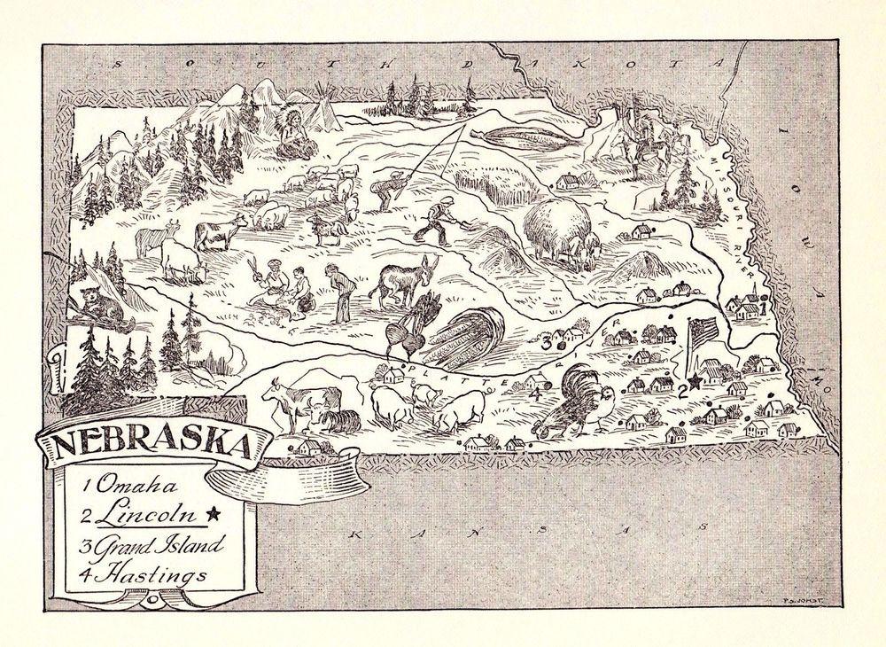 Nebraska Antique Vintage Pictorial Map