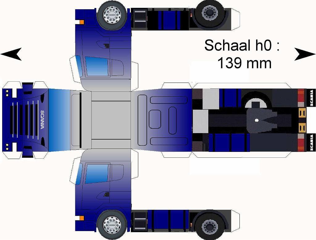 Free Download Paper Model Trucks Scania Duotoon Grijs Blauw Papieren Modellen Blauw Truck