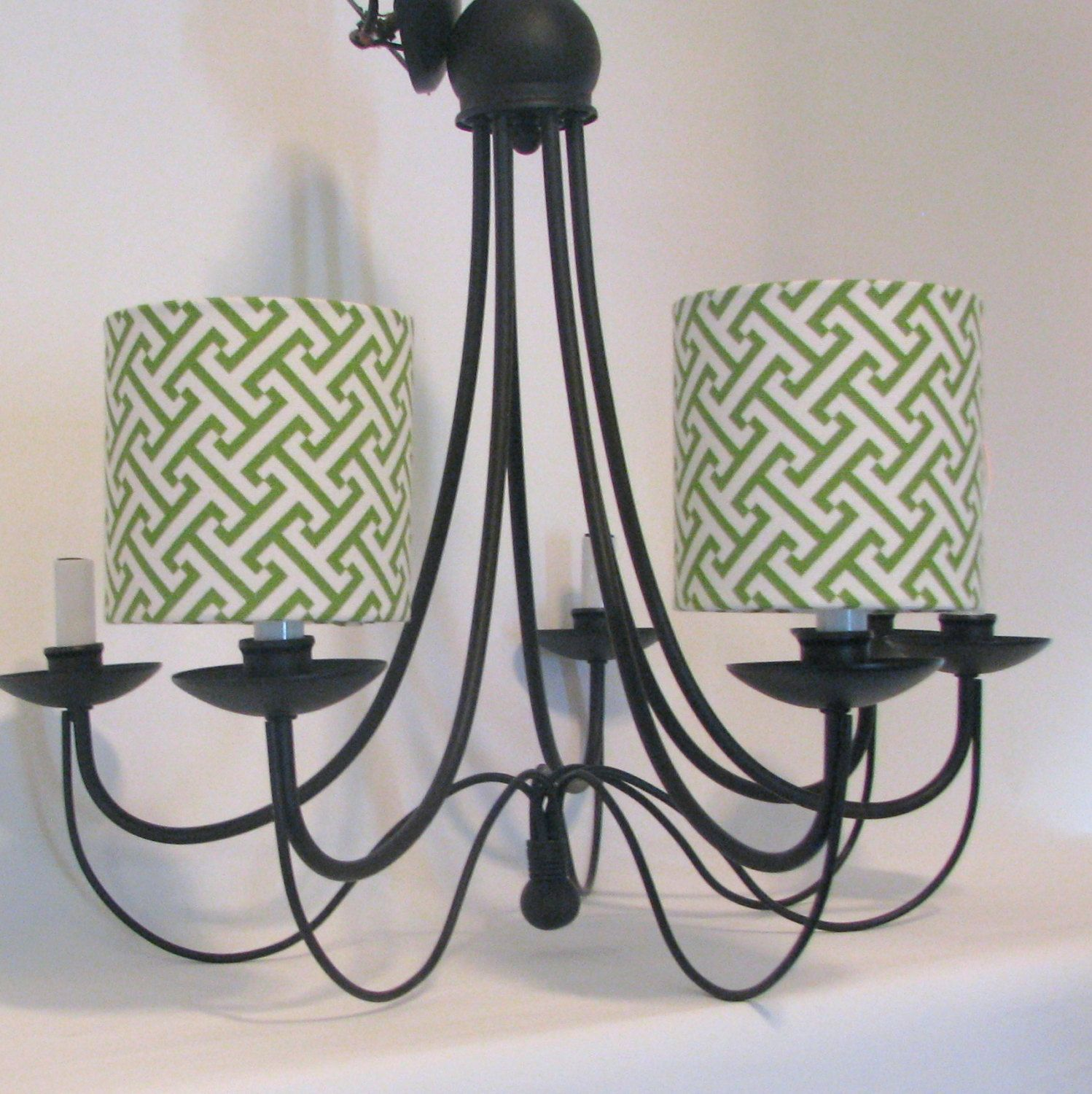 Chandelier Shade Or Sconce Drum Style In Green And White Cross Section By Waverly