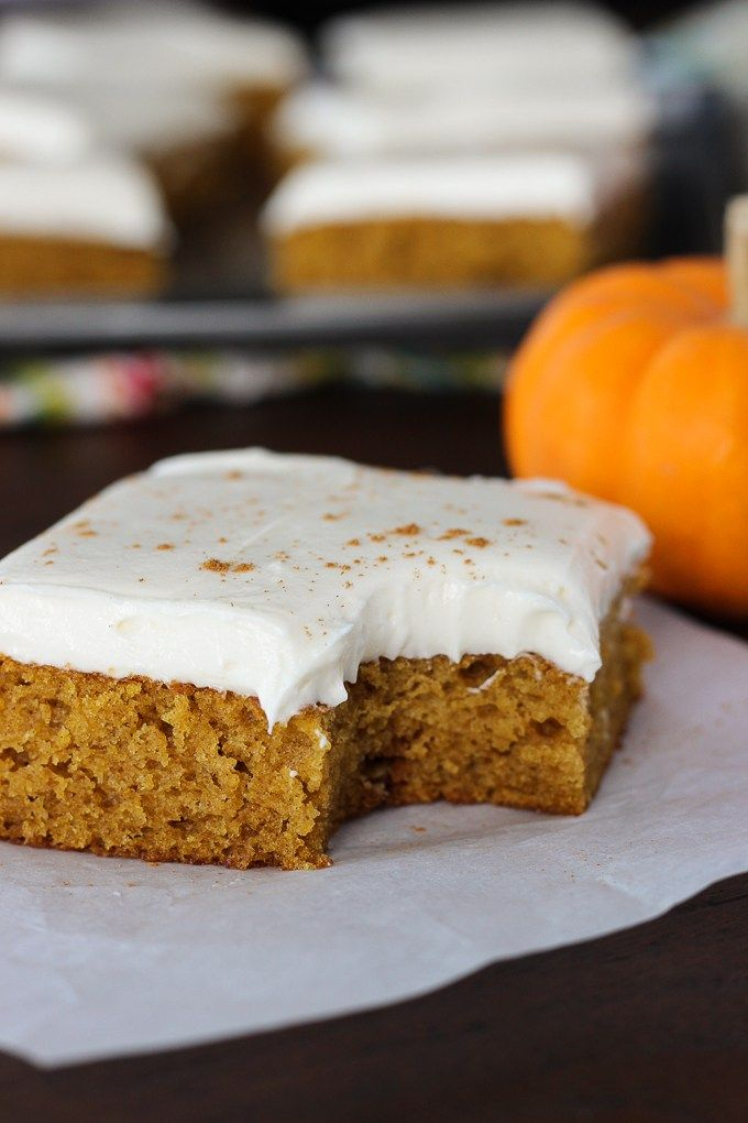 Pumpkin bars with cream cheese frosting cupcakescakescookies light and fluffy pumpkin bars topped with a rich creamy decadent cream cheese frosting for an exquisite heavenly result aloadofball Gallery