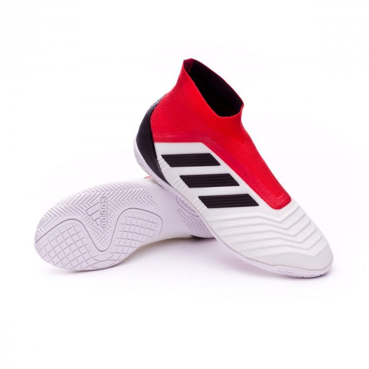 d371429c1056 New adidas Predator Tango 18+ IN football boots in White-Core black-Real  coral for kidsWherever you play