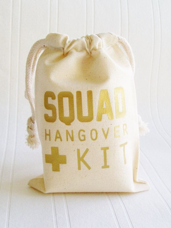 Tote Bags Party Favor By Lucky Girl Hair Ties The SQUAD Hangover Kit Gift Bag 1 Squad Goal Recover ASAP From A Night Of Fun Support Your With