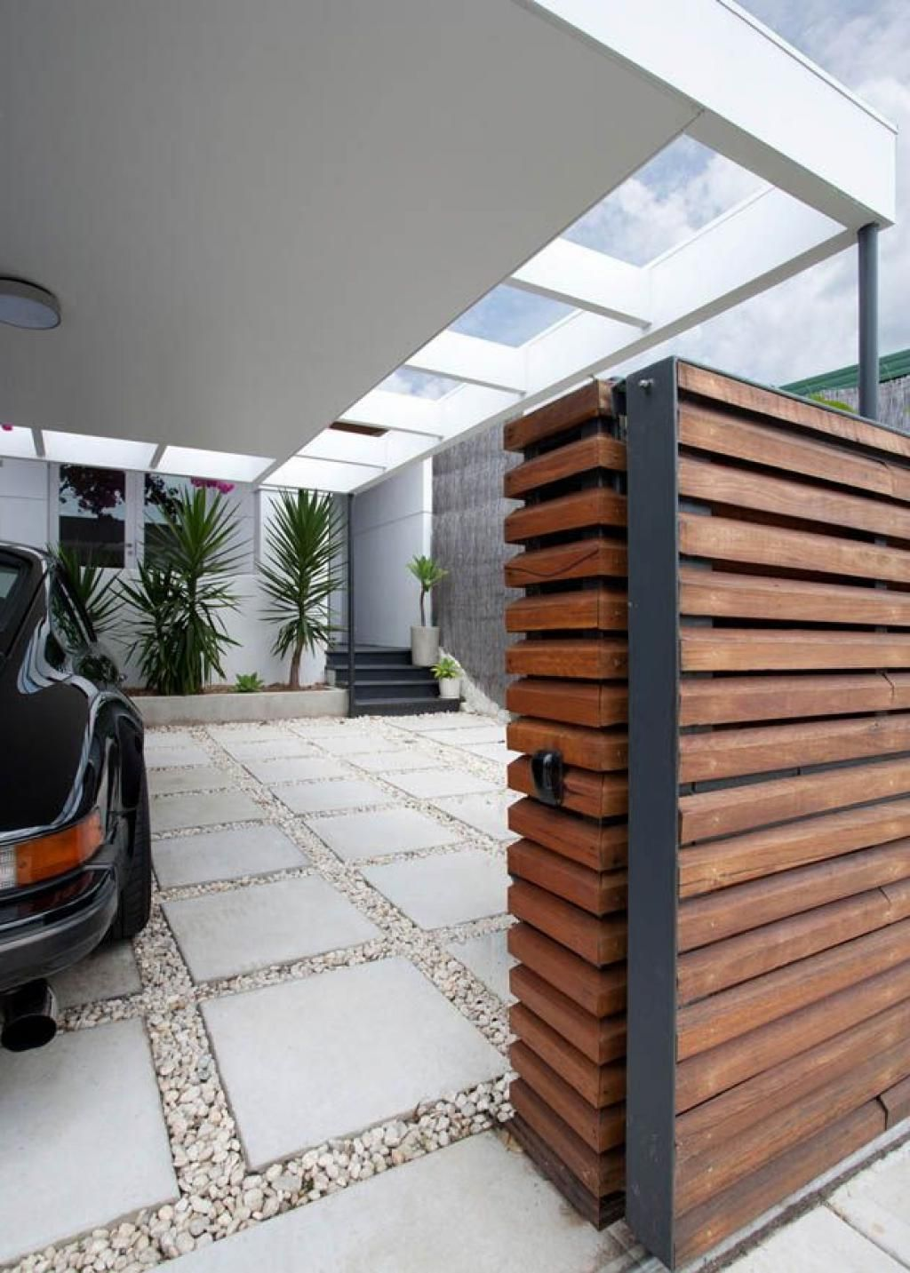 Wooden Gate And The Modern Carport For The Moder House Design Carport Designs Modern Carport Car Porch Design