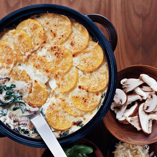 Polenta Gratin with Spinach and Wild Mushrooms // More Satisfying Vegetarian Casseroles: http://www.foodandwine.com/slideshows/vegetarian-casseroles #foodandwine