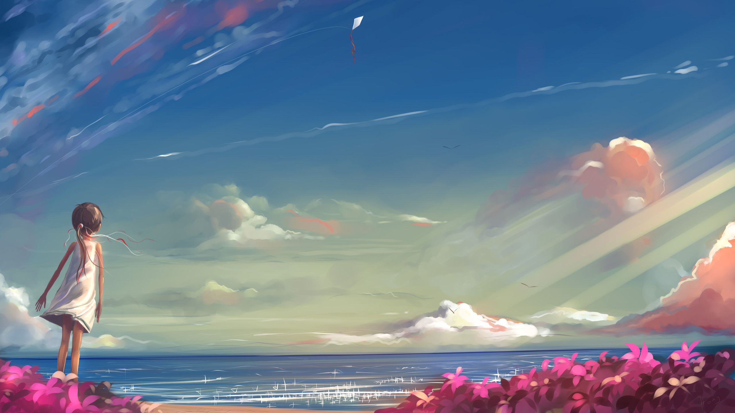 Girl Looking At Sky Kite Ocean Beach Child Original Sky