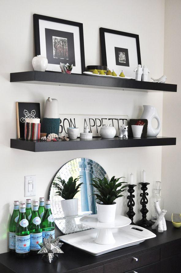 Madebygirl Reader Shares Her Home Floating Shelves Kitchen Black Floating Shelves Floating Shelves