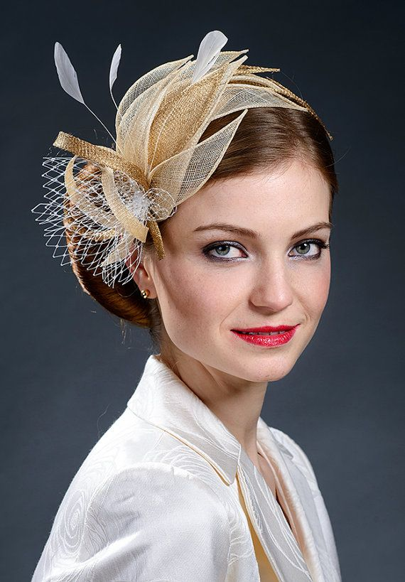 Beige, champagne gold and gold fascinator hat for weddings ...