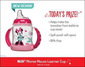 TODAY ONLY, enter to win a Minnie Mouse Learner Cup from Nuk!
