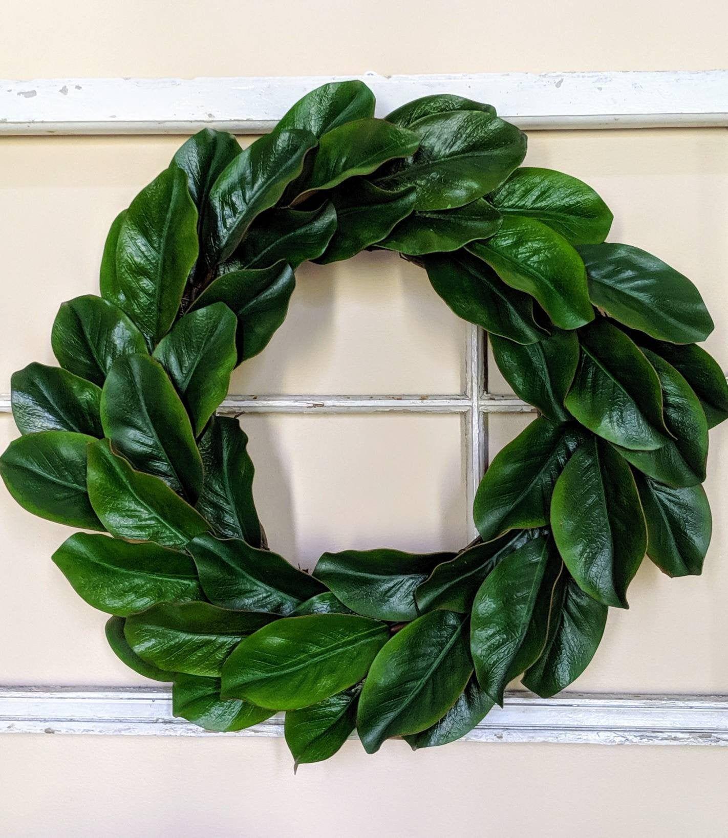 Photo of Magnolia Wreath, Grapevine Wreath, Modern Farmhouse Decor, Green Wreath