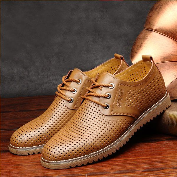 Men's Casual Breathable Lace Up Classic Oxford Flat Shoes Plus Size