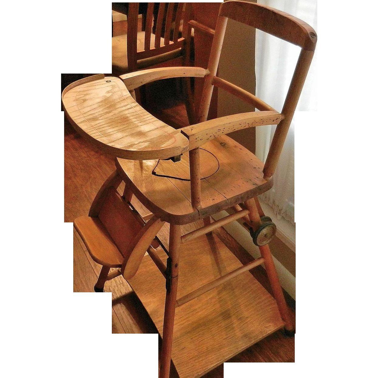 Antique Folding Wooden High Chair