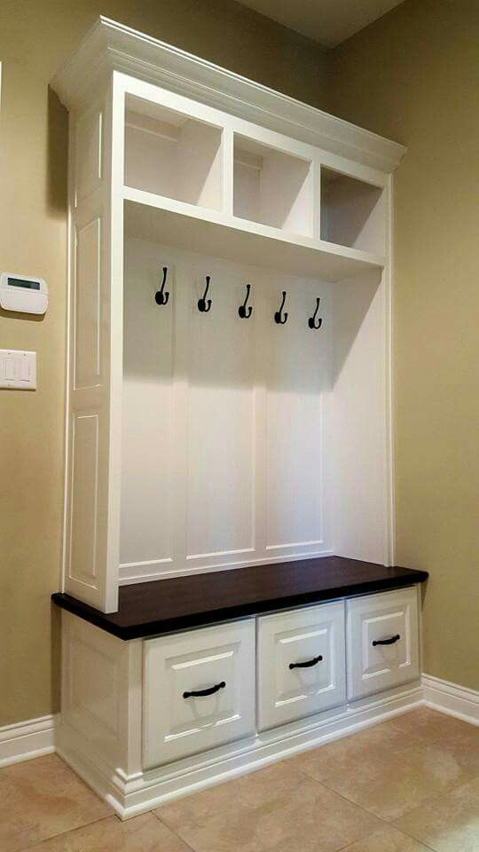 Maple Mudroom Built In With White Lacquer And Stained Solid Wood