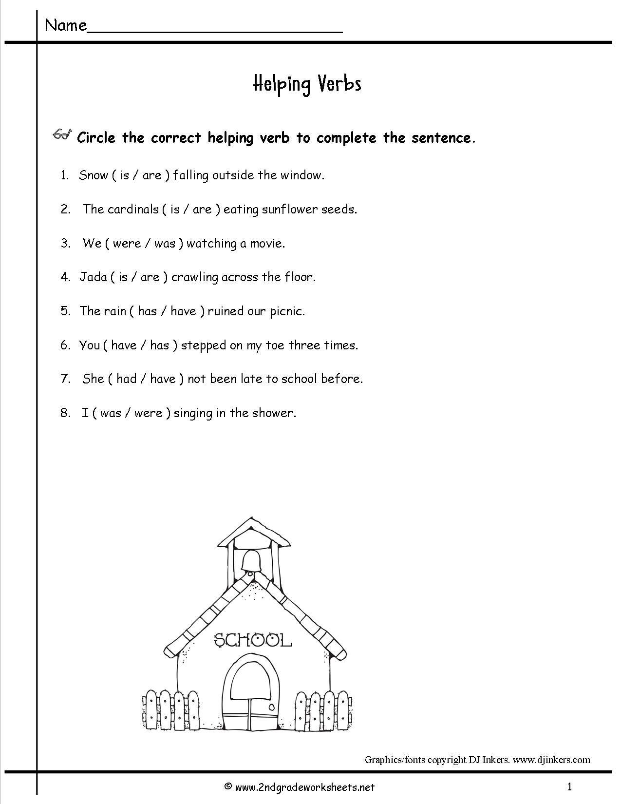 2ndgradeworksheets   Helping verbs worksheet [ 1650 x 1275 Pixel ]