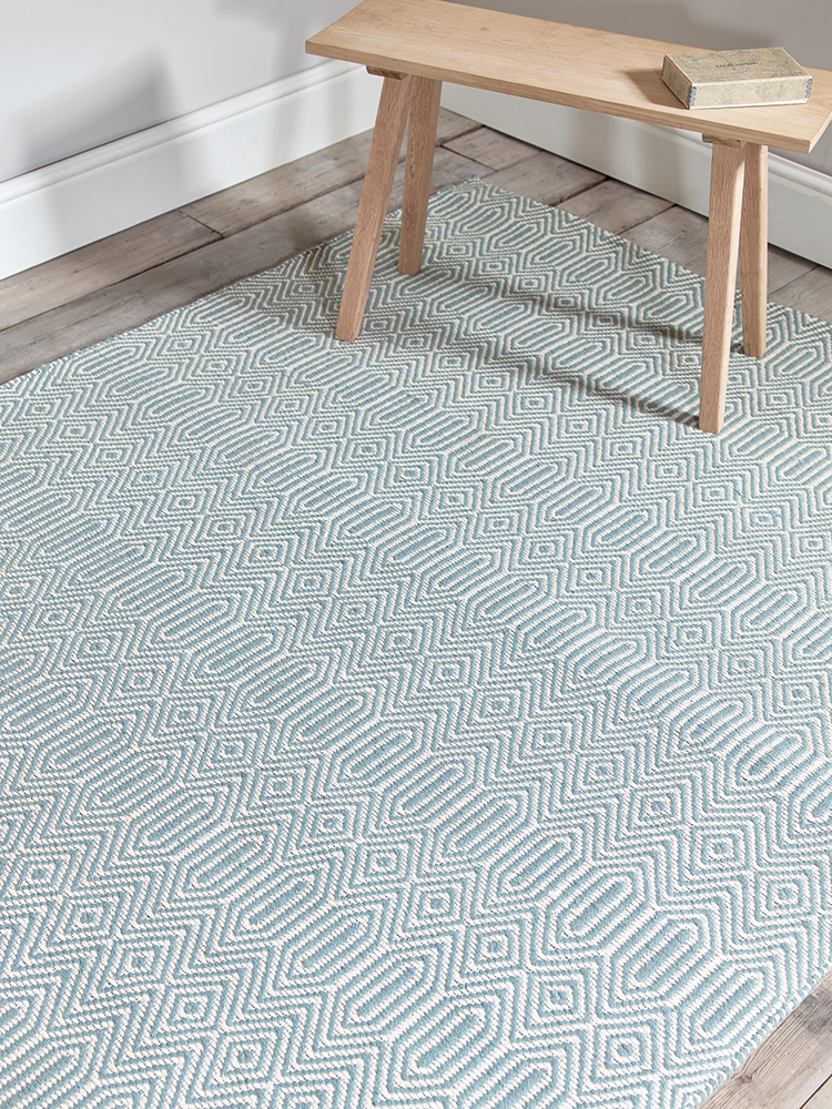 With A Simple Geometric Inspired Weave Our Cool Duck Egg Rug Will Introduce Warm Colour To Your Home Dana Rugs Have Been Hand Woven From Cotton And