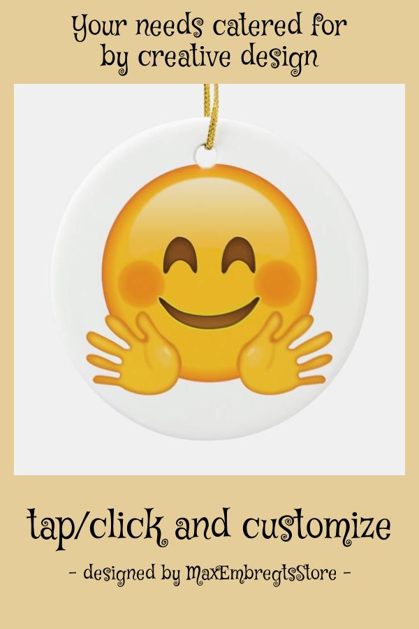 Hugging Face Emoji Ceramic Ornament Zazzle Com White Elephant Gifts Funny Emoji Diy Ceramic Ornaments