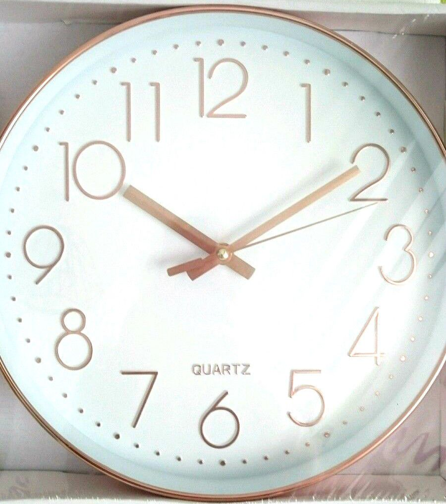 Round COPPER Wall Clock ROSE GOLD EFFECT WHITE FACE ROUND KITCHEN WALL CLOCK