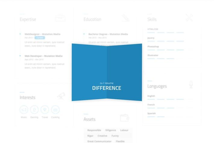Difference - CV\/RESUME TEMPLATE by mutationthemes WEB DESIGN - difference between resume and cv