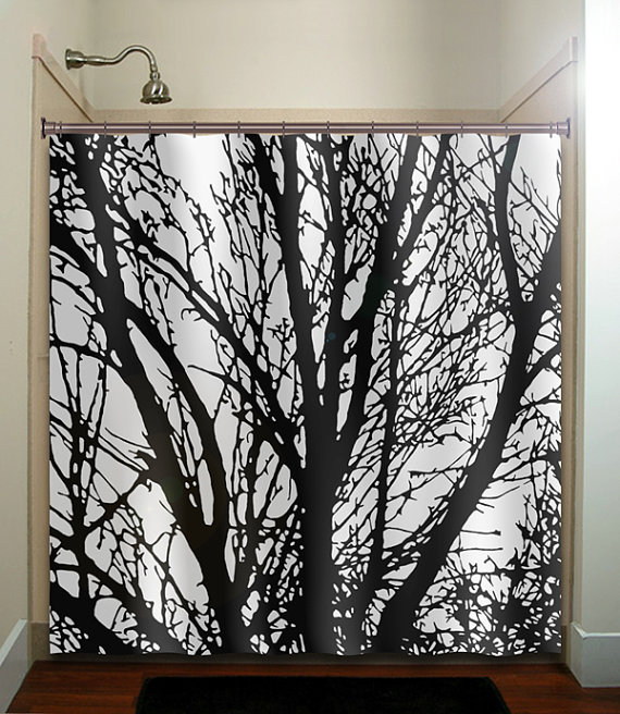 black tree branches shower curtain bathroom decor fabric