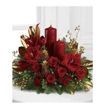 Arranjo De Natal Mesa 70cmx19cm Flores De Natal Natal Diy