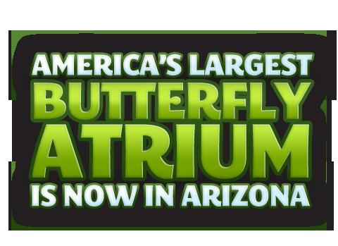 America's Largest Butterfly Atrium is now in Arizona  Open 7 days a week: 9:00 a.m. - 5:00 p.m.   9500 E. Via de Ventura, Scottsdale