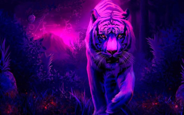 Download Wallpapers Bengal Tiger Fantastic Forest White Tiger Predators Art Besthqwallpapers Com Art Fantastic Forest Predator Art